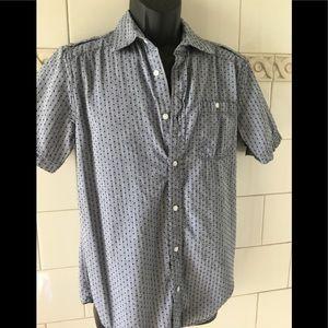 PD&C Blue Dotted Button Up Short Sleeve Shirt S